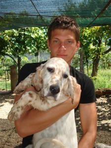 Stefano Boscato con cucciolone di setter inglese di 6 mesi